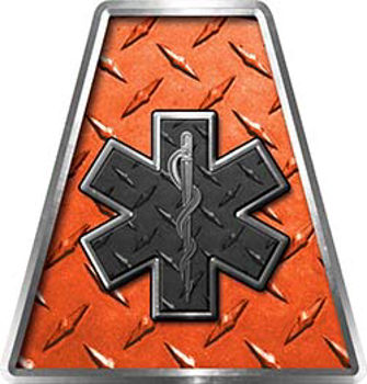 Fire Fighter, EMS, Rescue Helmet Tetrahedron Decal Reflective in Orange Diamond Plate with Star of Life