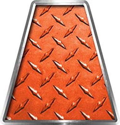 Fire Fighter, EMS, Rescue Helmet Tetrahedron Decal Reflective in Orange Diamond Plate