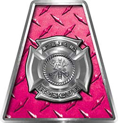 Fire Fighter, EMS, Rescue Helmet Tetrahedron Decal Reflective in Pink Diamond Plate with Maltese Cross