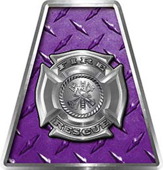 Fire Fighter, EMS, Rescue Helmet Tetrahedron Decal Reflective in Purple Diamond Plate with Maltese Cross