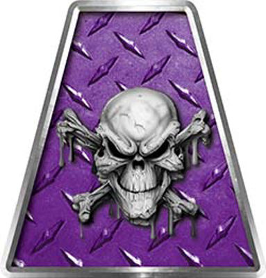 Fire Fighter, EMS, Rescue Helmet Tetrahedron Decal Reflective in Purple Diamond Plate with Skull and Crossbones