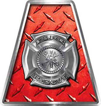 Fire Fighter, EMS, Rescue Helmet Tetrahedron Decal Reflective in Red Diamond Plate with Maltese Cross