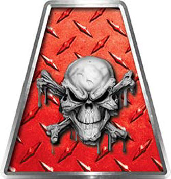 Fire Fighter, EMS, Rescue Helmet Tetrahedron Decal Reflective in Red Diamond Plate with Skull and Crossbones