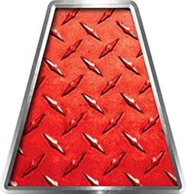 Fire Fighter, EMS, Rescue Helmet Tetrahedron Decal Reflective in Red Diamond Plate