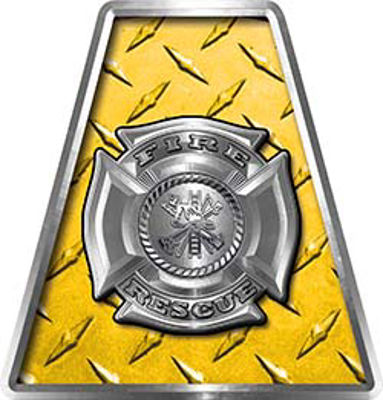 Fire Fighter, EMS, Rescue Helmet Tetrahedron Decal Reflective in Yellow Diamond Plate with Maltese Cross