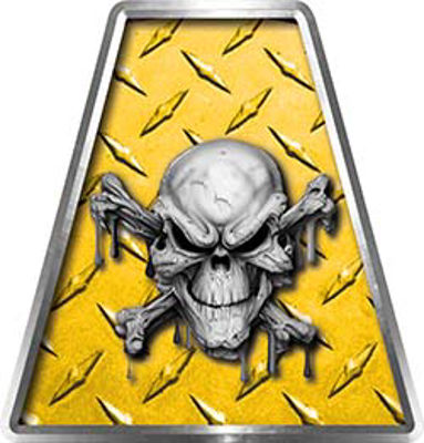 Fire Fighter, EMS, Rescue Helmet Tetrahedron Decal Reflective in Yellow Diamond Plate with Skull and Crossbones