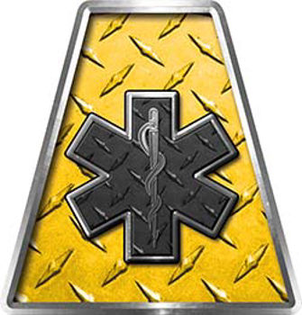 Fire Fighter, EMS, Rescue Helmet Tetrahedron Decal Reflective in Yellow Diamond Plate with Star of Life