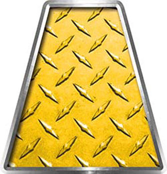 Fire Fighter, EMS, Rescue Helmet Tetrahedron Decal Reflective in Yellow Diamond Plate