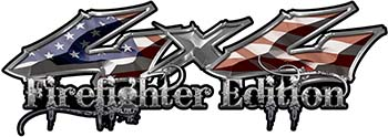 Twisted Series 4x4 Truck, SUV, ATV, SbS, Fire Fighter Edition Decals With Patriotic American Flag