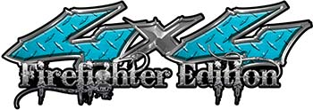 Twisted Series 4x4 Truck, SUV, ATV, SbS, 4x4 FireFighter Edition Decals in Diamond Plate Teal