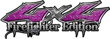 Twisted Series 4x4 Truck, SUV, ATV, SbS, 4x4 FireFighter Edition Decals in Diamond Plate Purple