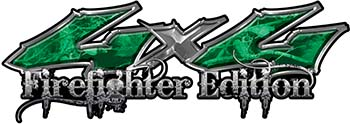 Twisted Series 4x4 Truck, SUV, ATV, SbS, 4x4 FireFighter Edition Decals in Camo Green