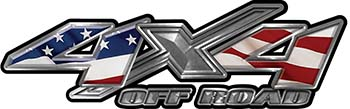 4x4 Offroad Truck, SUV, ATV, Side By Side, Golf Cart Fender Emblem or Bedside Decals with American Flag
