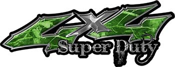 Super Duty Twisted Series 4x4 Truck Bedside or Fender Emblem Decals in Camo Green
