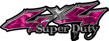 Super Duty Twisted Series 4x4 Truck Bedside or Fender Emblem Decals in Camo Pink