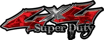 Super Duty Twisted Series 4x4 Truck Bedside or Fender Emblem Decals in Camo Red