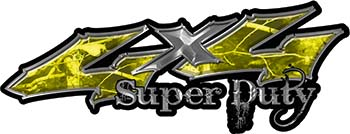 Super Duty Twisted Series 4x4 Truck Bedside or Fender Emblem Decals in Camo Yellow