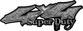 Super Duty Twisted Series 4x4 Truck Bedside or Fender Emblem Decals in Diamond Plate