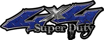 Super Duty Twisted Series 4x4 Truck Bedside or Fender Emblem Decals in Diamond Plate Blue