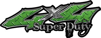 Super Duty Twisted Series 4x4 Truck Bedside or Fender Emblem Decals in Diamond Plate Green