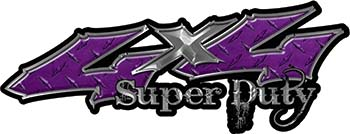 Super Duty Twisted Series 4x4 Truck Bedside or Fender Emblem Decals in Diamond Plate Purple