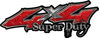 Super Duty Twisted Series 4x4 Truck Bedside or Fender Emblem Decals in Diamond Plate Red