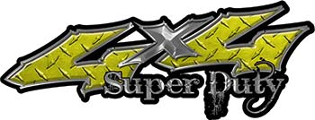 Super Duty Twisted Series 4x4 Truck Bedside or Fender Emblem Decals in Diamond Plate Yellow