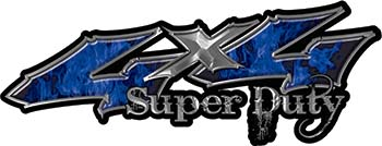Super Duty Twisted Series 4x4 Truck Bedside or Fender Emblem Decals with Inferno Blue Flames