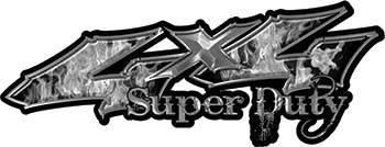 Super Duty Twisted Series 4x4 Truck Bedside or Fender Emblem Decals with Inferno Gray Flames
