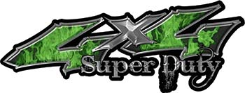 Super Duty Twisted Series 4x4 Truck Bedside or Fender Emblem Decals with Inferno Green Flames