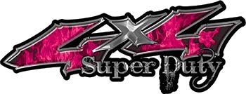 Super Duty Twisted Series 4x4 Truck Bedside or Fender Emblem Decals with Inferno Pink Flames