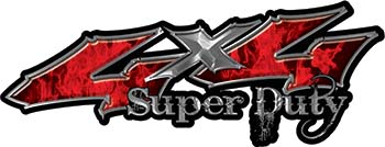 Super Duty Twisted Series 4x4 Truck Bedside or Fender Emblem Decals with Inferno Red Flames