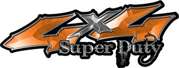 Super Duty Twisted Series 4x4 Truck Bedside or Fender Emblem Decals with Inferno Orange Flames