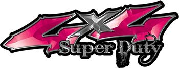 Super Duty Twisted Series 4x4 Truck Bedside or Fender Emblem Decals in Pink