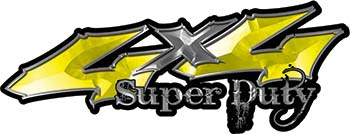 Super Duty Twisted Series 4x4 Truck Bedside or Fender Emblem Decals in Yellow