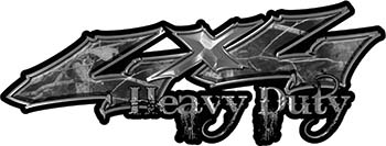 Heavy Duty Twisted Series 4x4 Truck Bedside or Fender Emblem Decals in Camo Gray