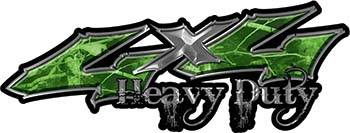 Heavy Duty Twisted Series 4x4 Truck Bedside or Fender Emblem Decals in Camo Green