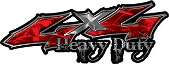 Heavy Duty Twisted Series 4x4 Truck Bedside or Fender Emblem Decals in Camo Red