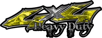 Heavy Duty Twisted Series 4x4 Truck Bedside or Fender Emblem Decals in Camo Yellow