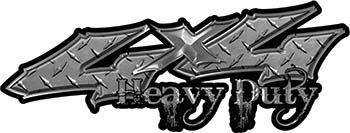 Heavy Duty Twisted Series 4x4 Truck Bedside or Fender Emblem Decals in Diamond Plate