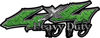 Heavy Duty Twisted Series 4x4 Truck Bedside or Fender Emblem Decals in Diamond Plate Green