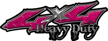 Heavy Duty Twisted Series 4x4 Truck Bedside or Fender Emblem Decals in Diamond Plate Pink
