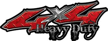 Heavy Duty Twisted Series 4x4 Truck Bedside or Fender Emblem Decals in Diamond Plate Red