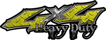 Heavy Duty Twisted Series 4x4 Truck Bedside or Fender Emblem Decals in Diamond Plate Yellow