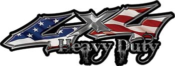 Heavy Duty Twisted Series 4x4 Truck Bedside or Fender Emblem Decals with American Flag