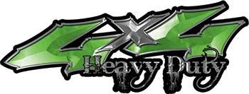 Heavy Duty Twisted Series 4x4 Truck Bedside or Fender Emblem Decals in Green