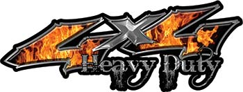 Heavy Duty Twisted Series 4x4 Truck Bedside or Fender Emblem Decals with Inferno Flames