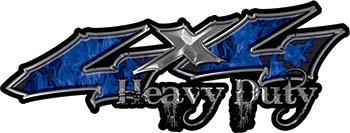 Heavy Duty Twisted Series 4x4 Truck Bedside or Fender Emblem Decals with Inferno Blue Flames