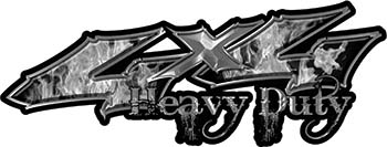 Heavy Duty Twisted Series 4x4 Truck Bedside or Fender Emblem Decals with Inferno Gray Flames