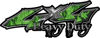 Heavy Duty Twisted Series 4x4 Truck Bedside or Fender Emblem Decals with Inferno Green Flames